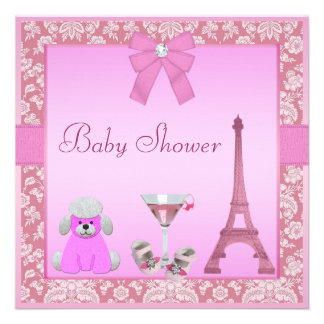 Chic Paris Damask Pink Poodle Baby Shower Personalized Invitation
