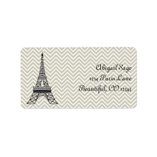 Chic Paris Eiffel Tower and Grey Chevron Address Label