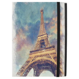 "Chic Paris Eiffel Tower Cute Pastel Watercolor Art iPad Pro 12.9"" Case"