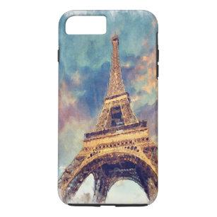 Chic Paris Eiffel Tower Cute Pastel Watercolor Art iPhone 8 Plus/7 Plus Case