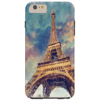 Chic Paris Eiffel Tower Cute Pastel Watercolor Art Tough iPhone 6 Plus Case