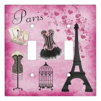 Chic Paris Eiffel Tower Fashion and Hearts Light Switch Cover