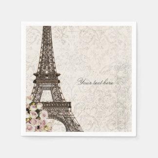 Chic Paris Eiffel Tower & Roses Elegant Party Paper Napkin