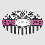Chic Paris Pink and Black Damask and Stripes Oval Sticker
