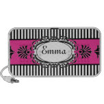 Chic Paris Pink and Black Fancy Stripes Portable Speakers