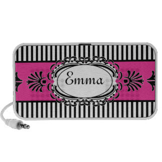 Chic Paris Pink and Black Fancy Stripes Speaker System