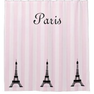 Chic Paris Pink Stripe and Black Eiffel Towers Shower Curtain