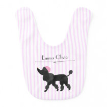 Chic Paris Pink Stripe with French Poodle Baby Bib