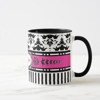 Chic Paris Stripes and Damask Add Your Name Mug