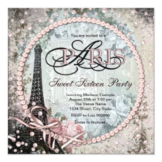"Chic Paris Sweet 16 Party 5.25"" Square Invitation Card"