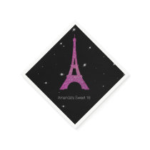 Chic Paris Theme Sweet 16 Birthday Napkins
