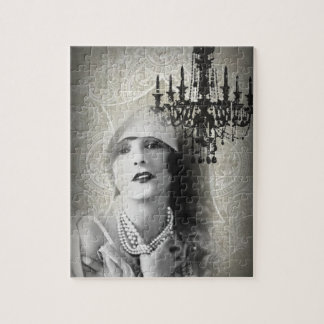 Chic Paris Vintage Chandelier great gatsby girl Jigsaw Puzzle
