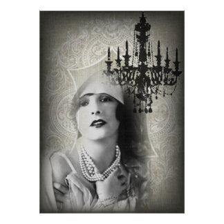 Chic Paris Vintage Chandelier great gatsby girl Poster