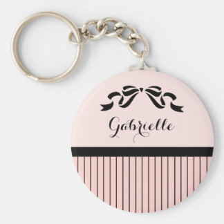 Chic Parisian Pink Pinstripes Black Bow and Name Keychain