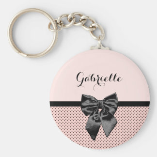 Chic Parisian Pink Polka Dots Black Bow and Name Basic Round Button Keychain