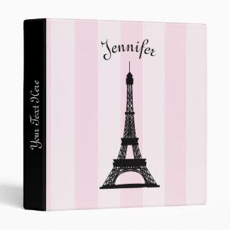 Chic Parisian Pink Stripe Black Eiffel Tower Binder
