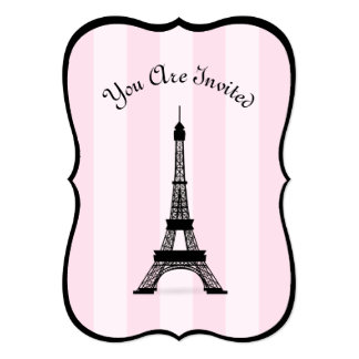 Chic Parisian Pink Stripe Black Eiffel Tower Card