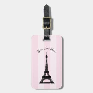Chic Parisian Pink Stripe Black Eiffel Tower Luggage Tag