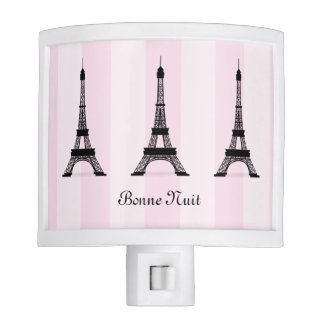 Chic Parisian Pink Stripe Black Eiffel Tower Night Light