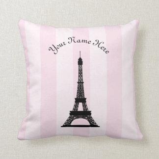 Chic Parisian Pink Stripe Black Eiffel Tower Throw Pillow