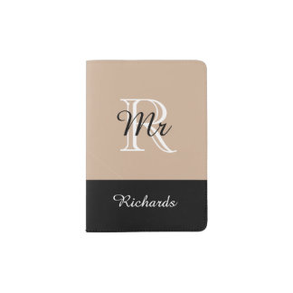 """CHIC PASSPORT HOLDER_""""Mr"""" BLACK/WHITE/HAZELNUT Passport Holder"""