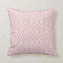 Chic pastel blush pink ikat tribal diamond pattern throw pillow