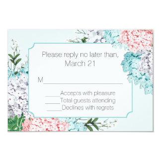 "Chic Pastel Hydrangeas Invitation RSVP Card 3.5"" X 5"" Invitation Card"