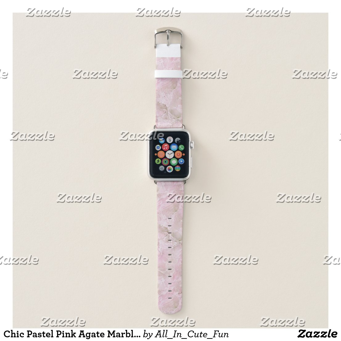 Chic Pastel Pink Agate Marble Pattern Apple Watch Band