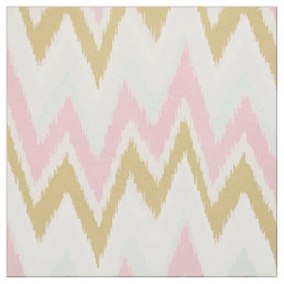 Chic pastel pink gold ikat tribal chevron pattern fabric