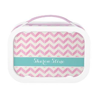 Chic Pastel Pink & Mint Chevron Custom Monogram Lunch Box at Zazzle