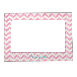 Chic Pastel Pink & Mint Chevron Custom Monogram Magnetic Picture Frame