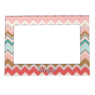 Chic Pastel Pink Mint Chevron Custom Monogram Magnetic Picture Frame