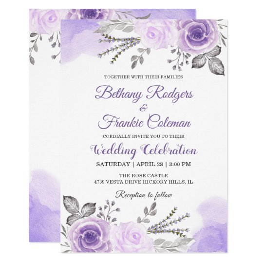 chic pastel purple floral watercolor wedding card zazzle com