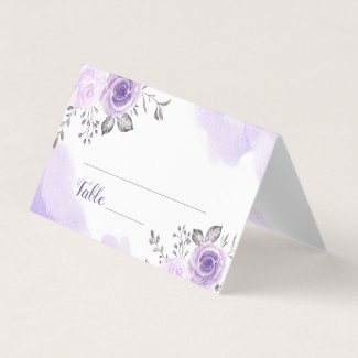 Chic Pastel Purple Flowers Wedding Place Card