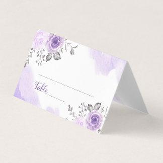 Chic Pastel Purple Flowers Wedding Place Card