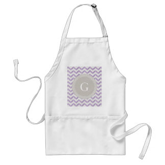 Chic Pastel purple grey Chevron Custom Monogram Apron