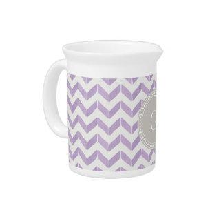 Chic Pastel purple grey Chevron Custom Monogram Beverage Pitcher