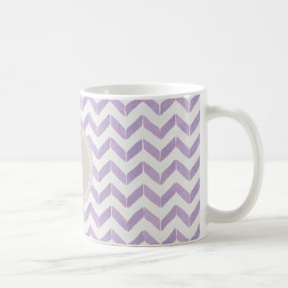 Chic Pastel purple grey Chevron Custom Monogram Classic White Coffee Mug