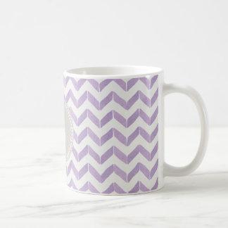 Chic Pastel purple grey Chevron Custom Monogram Coffee Mug