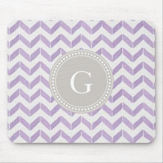 Chic Pastel purple grey Chevron Custom Monogram Mouse Pad