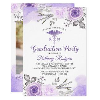 Chic Pastel Purple Nursing School Graduation Photo Card
