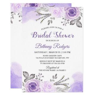 Chic Pastel Purple Rose Garden Bridal Shower Card