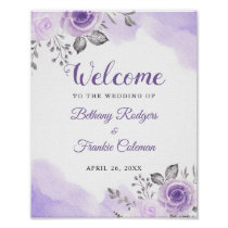 Chic Pastel Purple Watercolor Floral Wedding Sign
