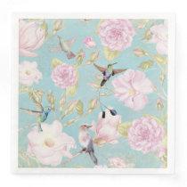 Chic Pastel Teal Vintage Roses Hummingbird Pattern Paper Dinner Napkin