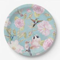 Chic Pastel Teal Vintage Roses Hummingbird Pattern Paper Plate