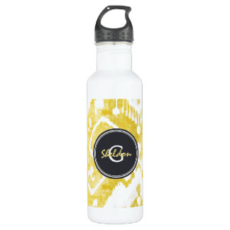 Chic pastel  yellow and grey ikat tribal pattern water bottle