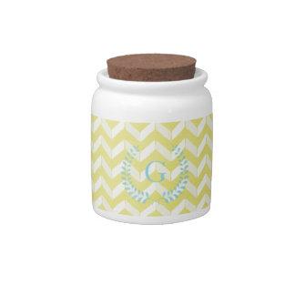 Chic Pastel Yellow Teal Chevron Custom Monogram Candy Jar