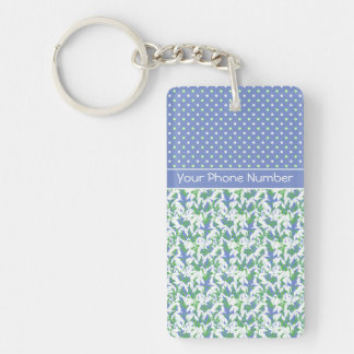 Chic Pattern of Snowdrops and Polka Dots on Blue Double-Sided Rectangular Acrylic Keychain