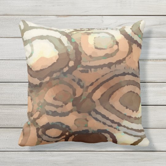 Chic Peach Brown Taupe Green Square Circle Pattern Throw Pillow