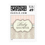 Chic Peach Damask & Stripe You're Invited Postage